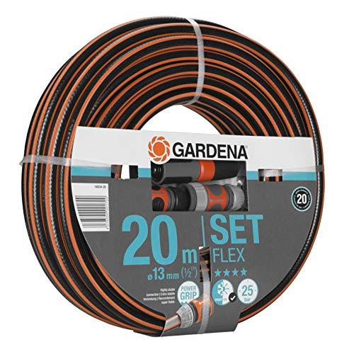 Gardena Comfort Flex Schlauch mit Systemteilen (Spiralgewebe, 25 bar Berstdruck, 13 mm, 1/2 Zoll, 20 m)