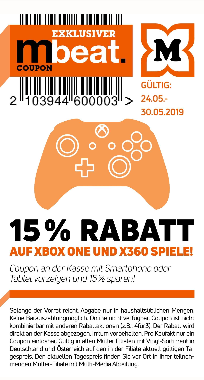 @Müller -15% auf alle Xbox one und Xbox 360 Spiele