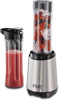 Russell Hobbs Mix&Go Steel Standmixer (inkl. 2 spülmaschinenfeste Trinkflaschen + Deckel (600ml), 23.500 U/min, elektrischer Zerkleinerer)