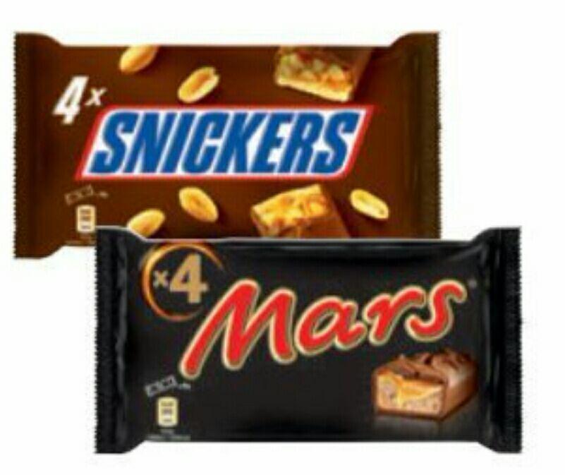 [BILLA] Mars, Snickers, Twix oder Twix White 4er , Kellys Snipes und Nic Nacs ab. 2 Pkg um je 0,99€
