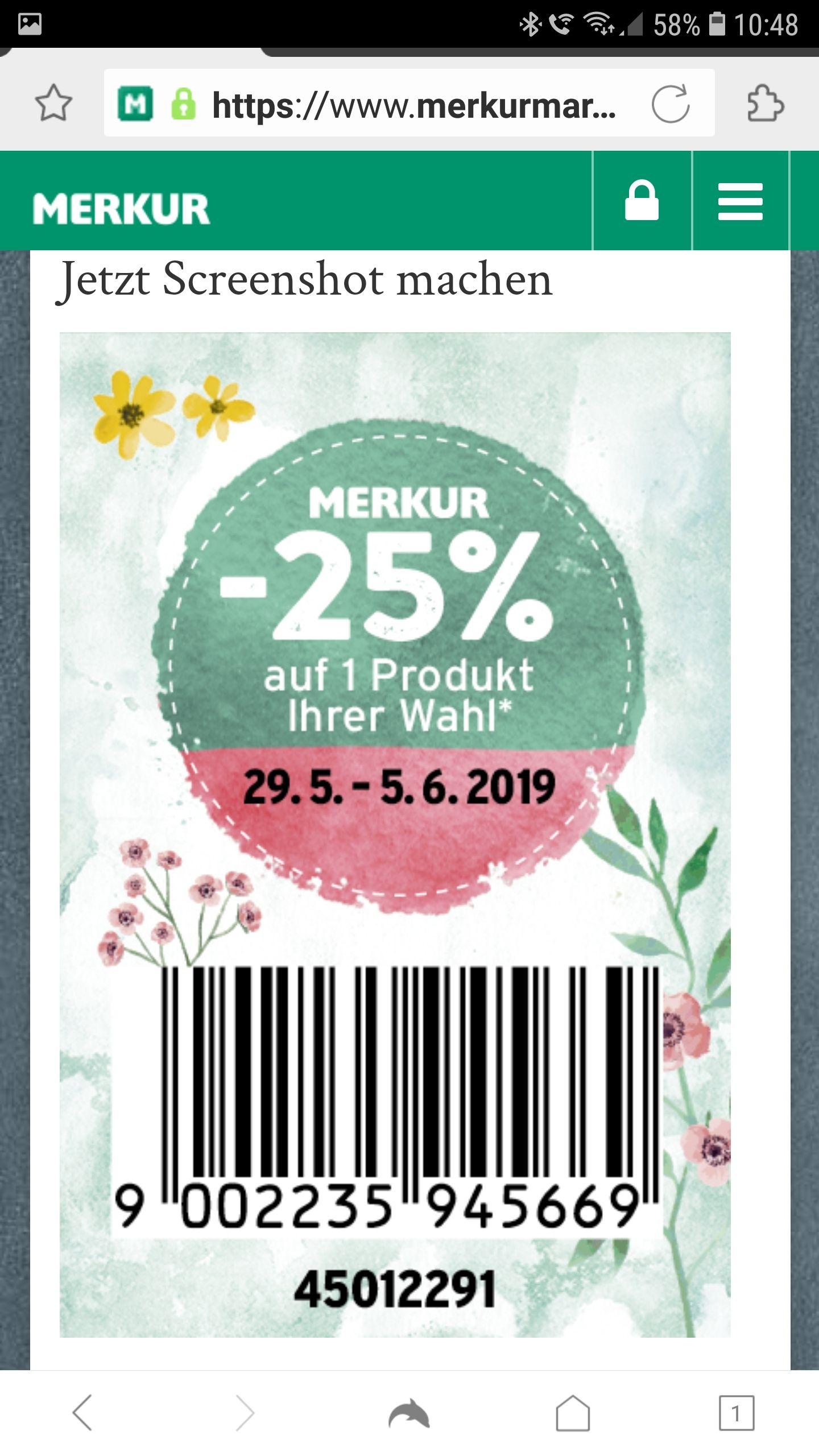 Merkur 25%Rabatt-Sticker Online
