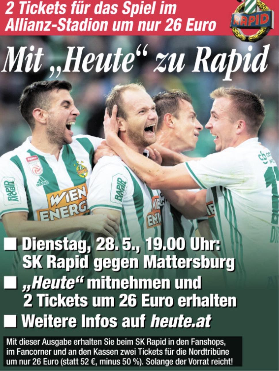 Sk Rapid Wien gegen Mattersburg: 1+1 Gratis Tickets für die Nordtribüne