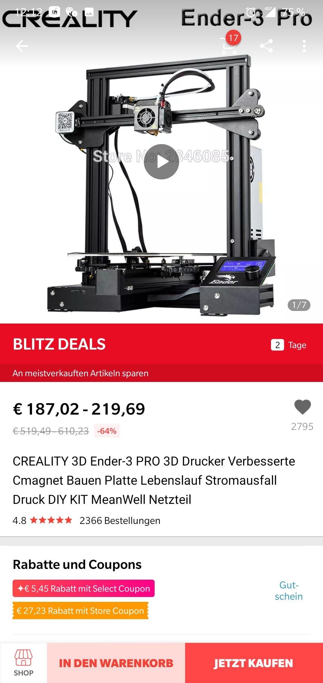 Creality Ender 3  PRO aus DEUTSCHLAND unter 151€  !