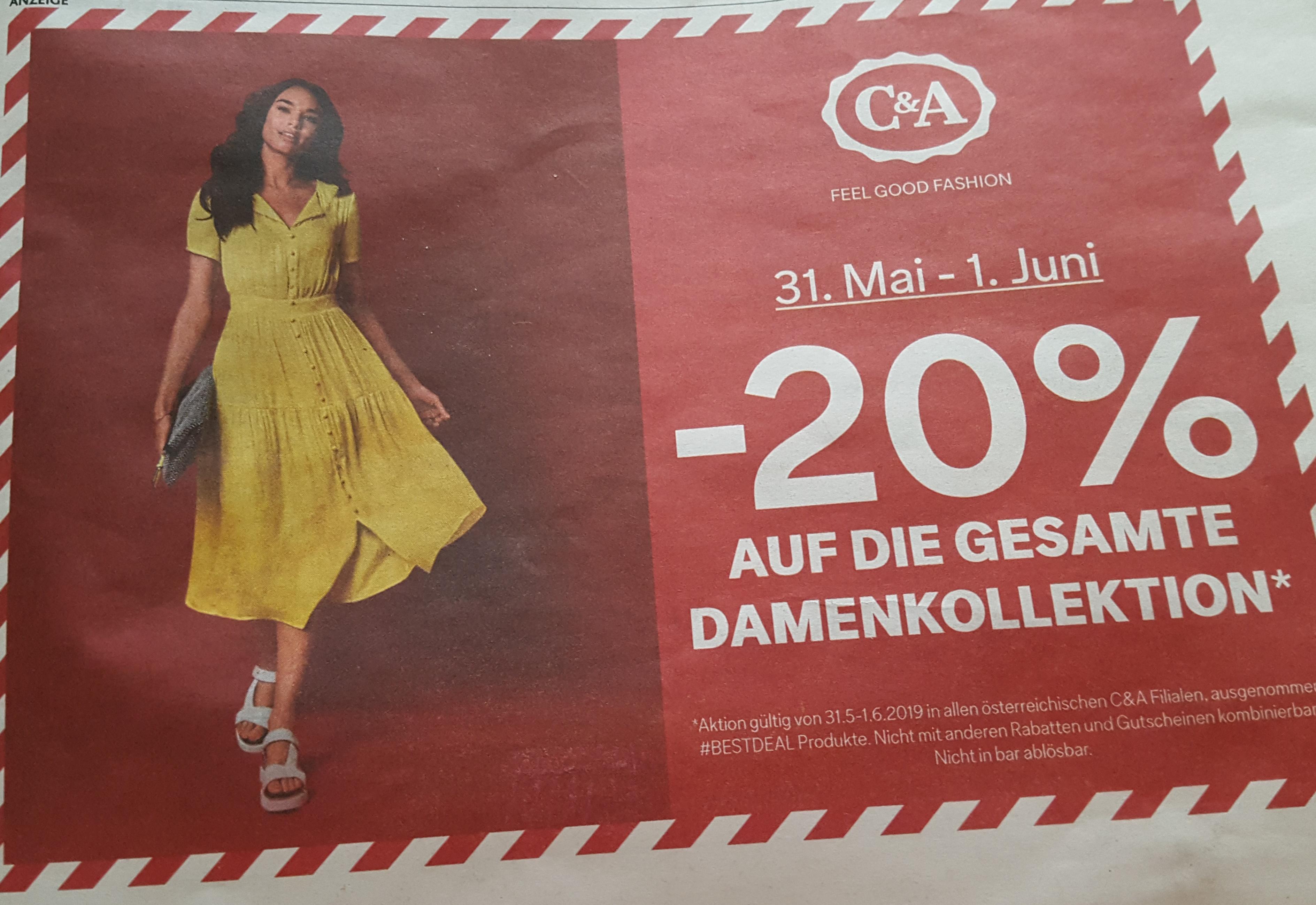 C&A 2 Tage lang -20%  auf die gesamte Damenkollektion*