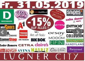 Lugner City nur am 31.5  -15% in Shops laut Foto