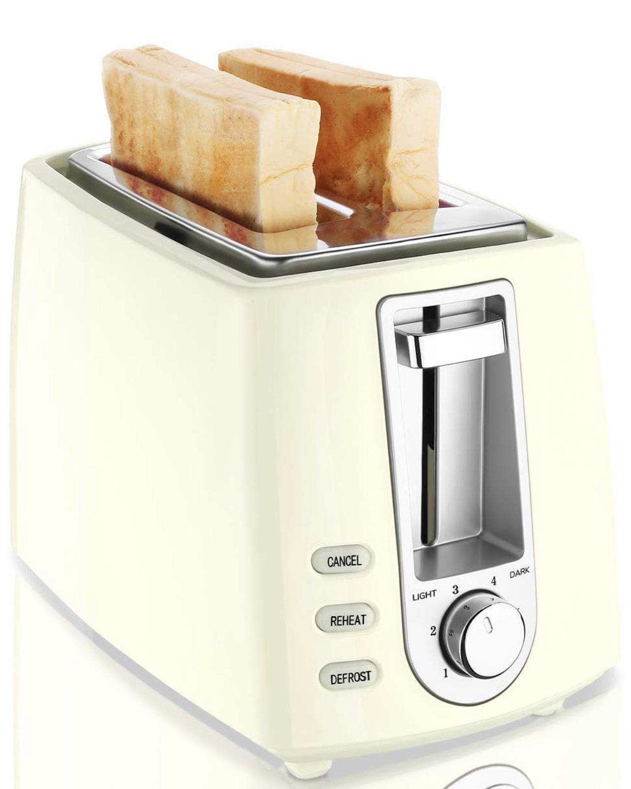 CUSIBOX 2-Scheiben Toaster 750W mit 6 Bräunungsstufen Auftauen, Aufwärmen und Abbrechen Funktionen