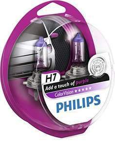 Philips Fahrzeuglampe ColorVision H7, Rosa, 2 Stück (12972CVPPS2)