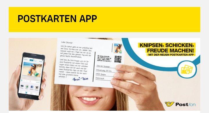Gratis Postkarte versenden mit der Postkarten-App der POST
