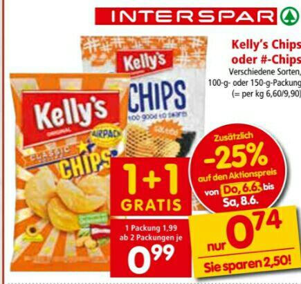 [INTERSPAR] Kelly's Chips, Bugles oder Jumpys uvm.  ab 2 Pkg. um je 0,74 statt 1,99€