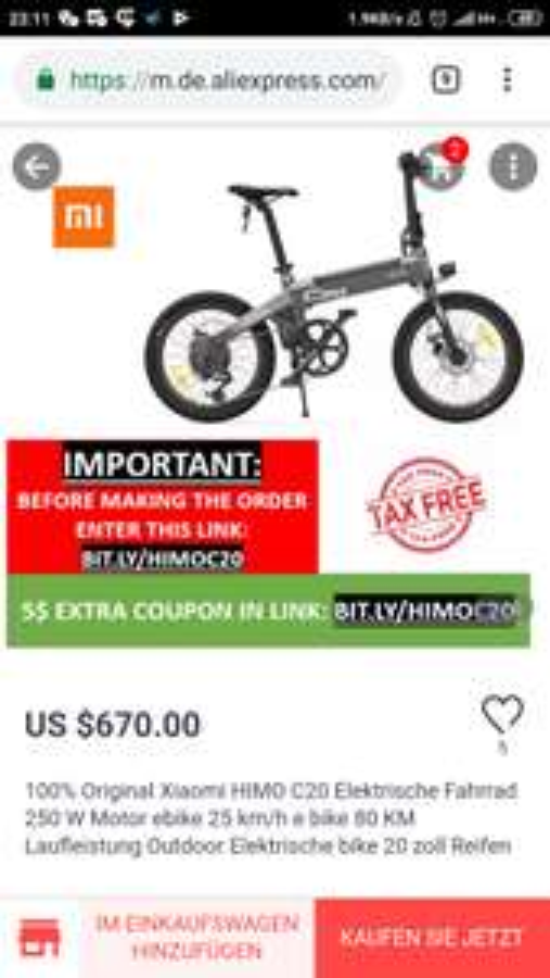 HIMO C20 Falt-e-Bike, Nachfolger von Qicycle EF1, Fahrrad Bike ebike