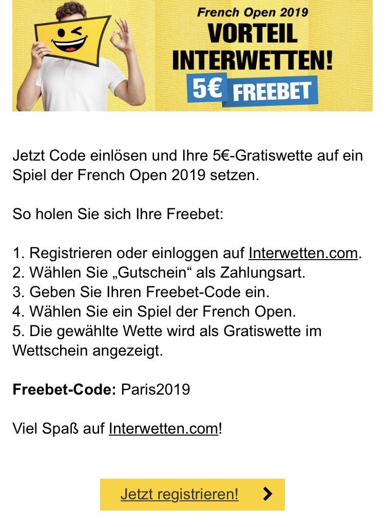 Interwetten 5€ Freebet French Open
