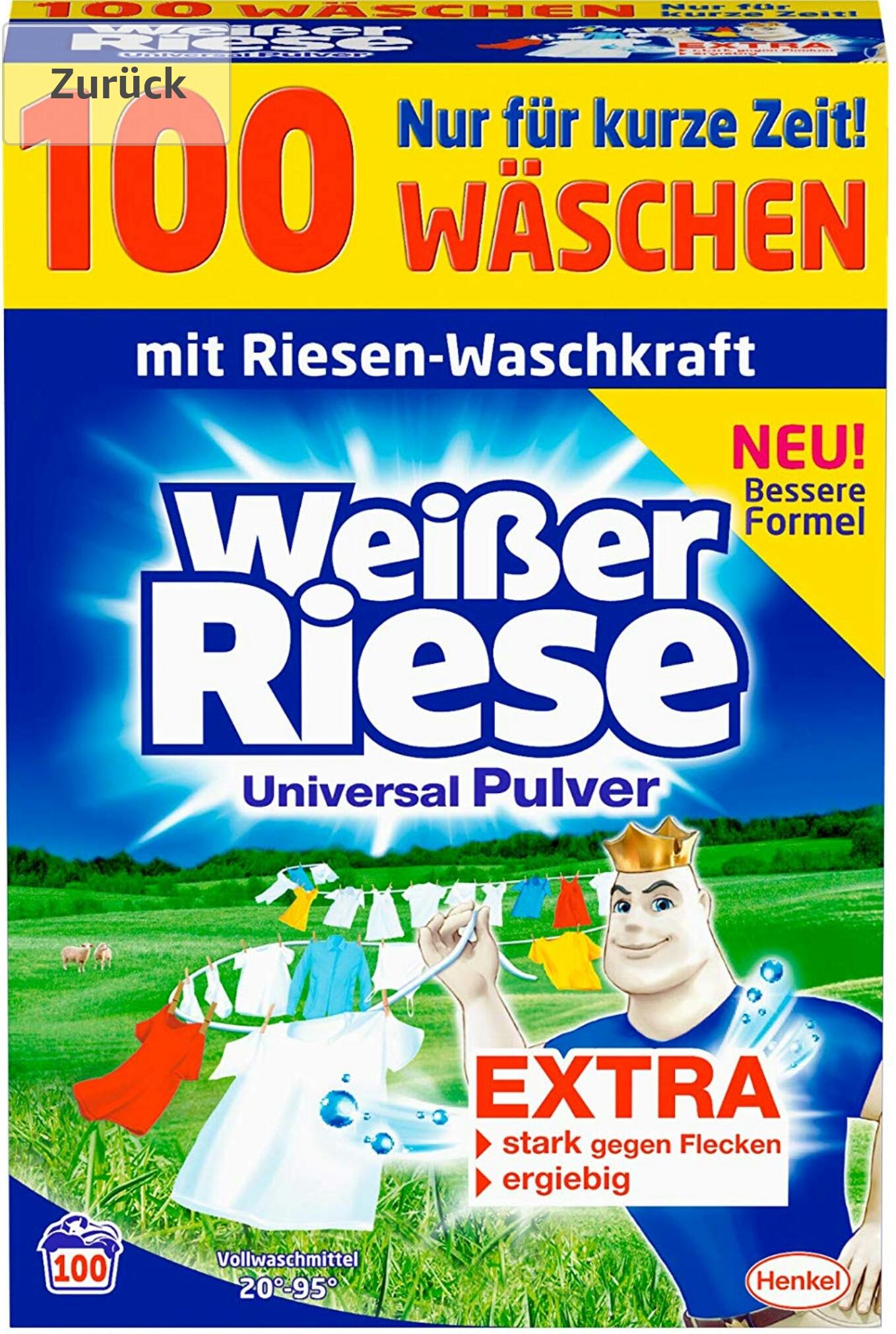 [Amazon] Weißer Riese Universal Pulver Waschmittel 100 Waschladungen (1WG 0,10€)