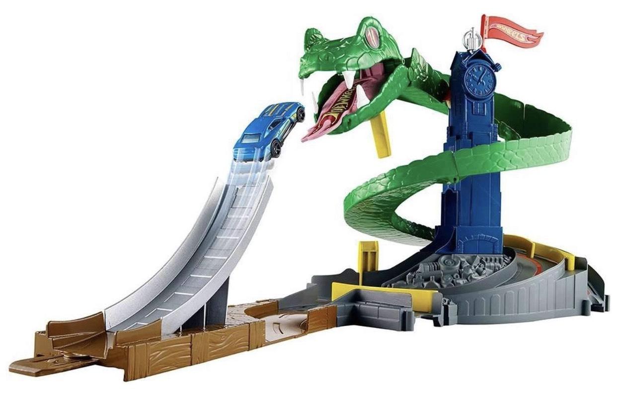 Hot Wheels FNB20 - City Kobra Angriff Set mit Schlange inkl. 1 Spielzeugauto, und Starter