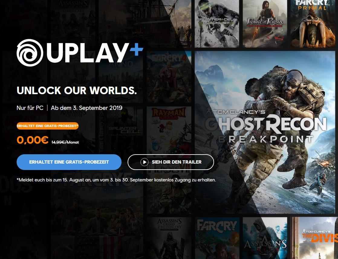 Uplay Plus - Alle Ubisoft PC Games kostenlos vom 3. bis zum 30. September zocken