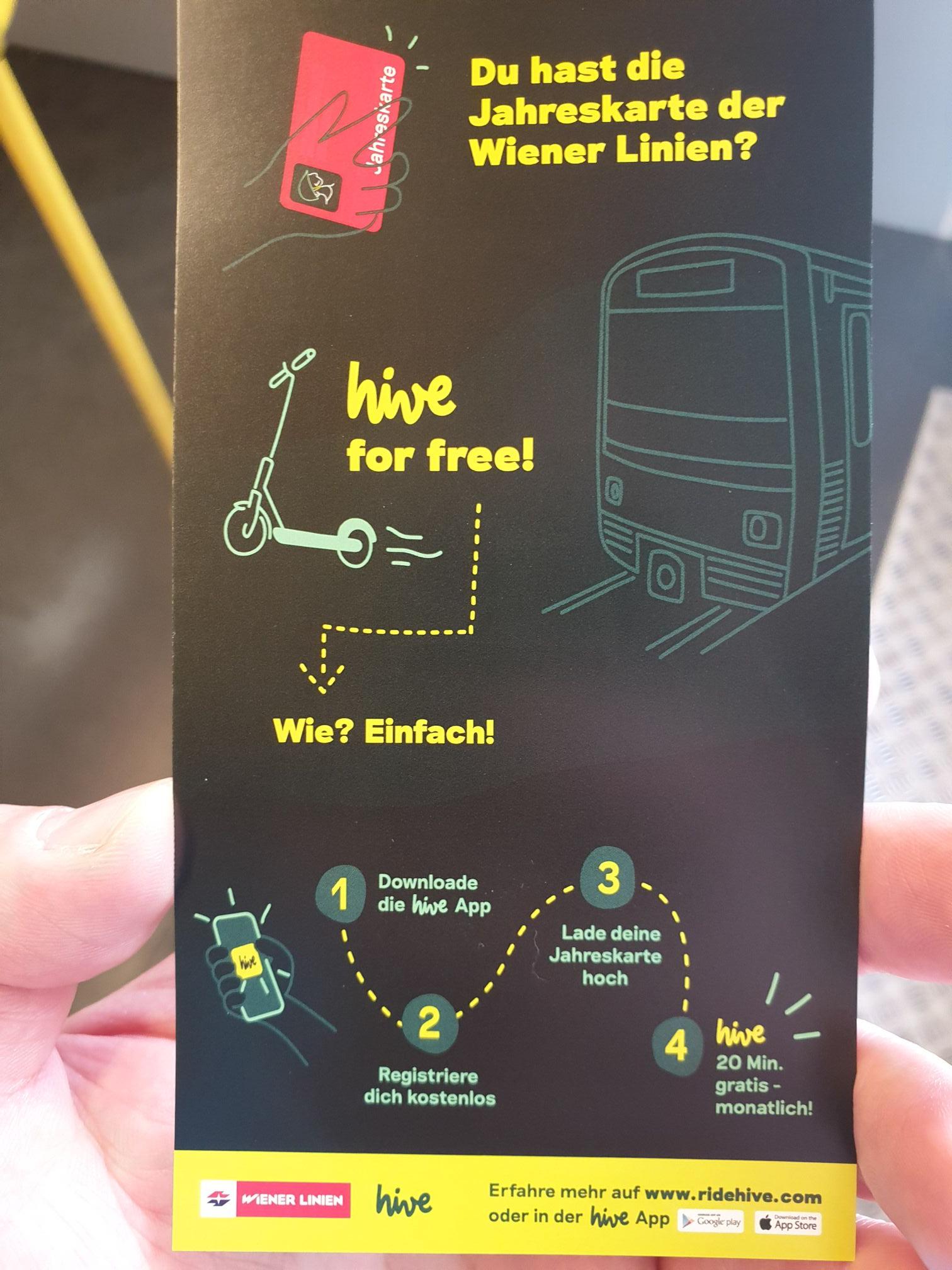 hive 20 Min. pro Monat kostenlos mit Wiener Linien Jahreskarte oder Studenten