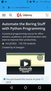 "Gratis Udemy-Kurs ""Automate the boring stuff with Python"""