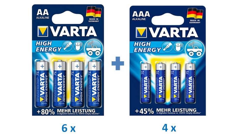 Varta High Energy AAA / AA Micro Alkaline Batterie 1,5V (24x AA + 16x AAA)