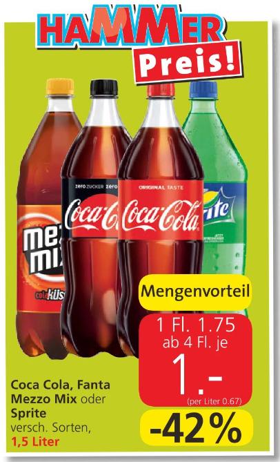 [Spar/Eurospar/Interspar] 1,5l Cola, Sprite, Mezzo Mix und Fanta ab 4 Flaschen um 1 Euro