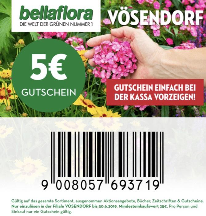 Bellaflora Vösendorf: € 5,— Gutschein ab € 25,— Einkaufswert