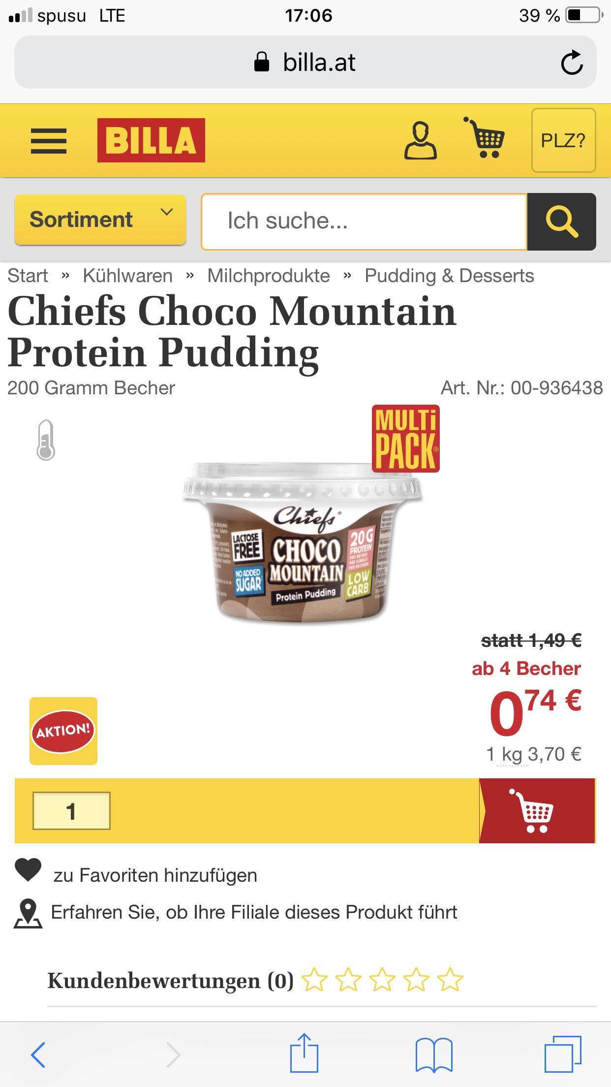 *Chiefs* Proteinpudding für den sportlichen Preisjäger, bei Mindestabnahme von 4 Stück