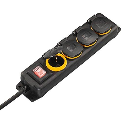 Hama Outdoor Steckdosenleiste mit Schalter, 4-fach, 4m (spritzwassergeschützt nach IP44, mit Klappdeckel, zur Wandmontage geeignet)