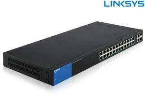 Linksys LGS300 Rackmount Gigabit Smart Switch, 24x RJ-45, 2x RJ-45/SFP, 384W PoE+ (LGS326MP)