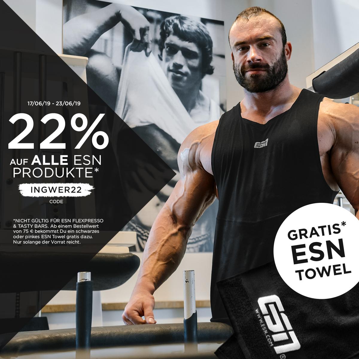 22% auf ALLES* von ESN + GRATIS Handtuch ab 75€