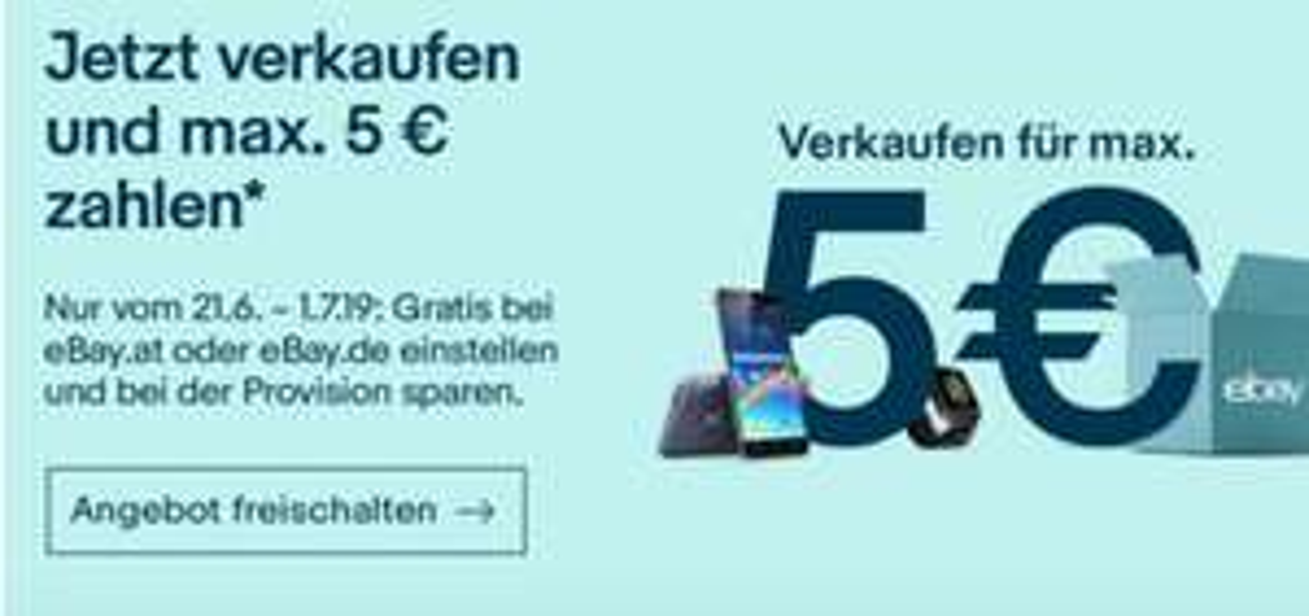 eBay - Maximal 5€ Verkaufsprovision