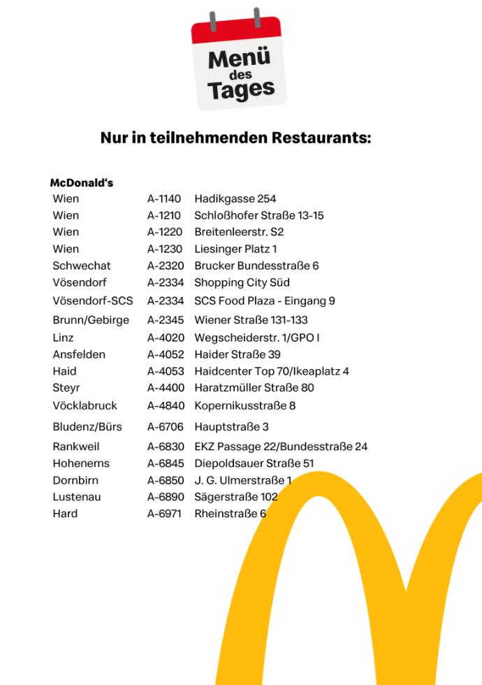 [McDonalds] Menü des Tages um 5,90 Euro in teilnehmenden Restaurants!