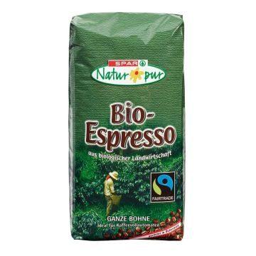 SPAR Natur*pur Bio Espresso oder Bio-Caffe Crema FAIR TRADE ganze Bohne 1 kg