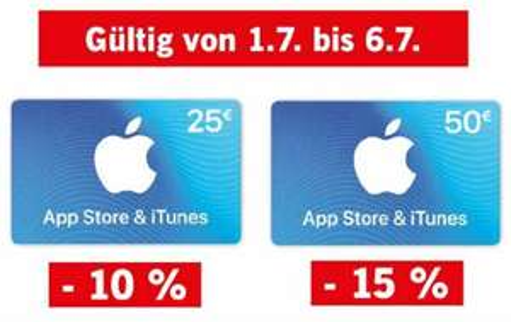 Apple App Store & iTunes Geschenkkarten: 10% auf 25 € und 15% auf 50 €