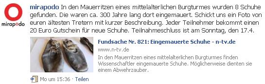 Gratis 20€ Mirapodo Gutschein @Facebook