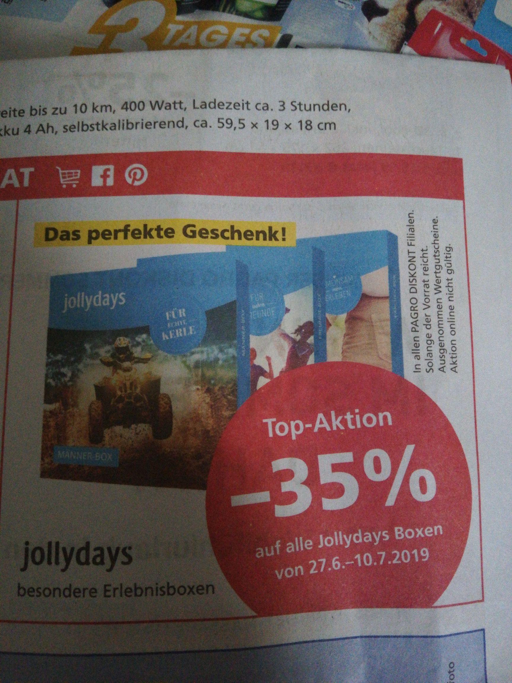 -35% auf alle jollydays Boxen beim Pagro