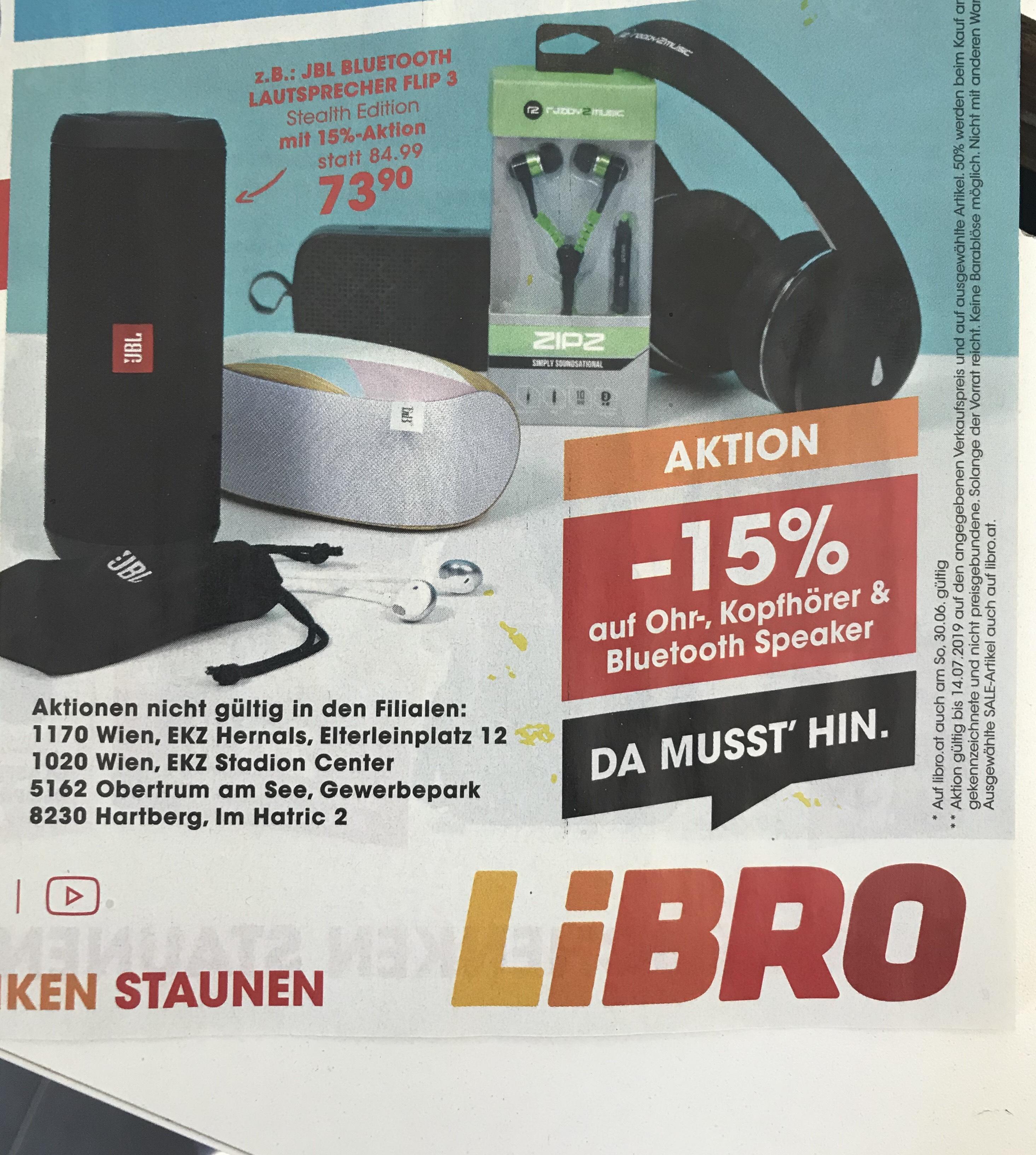 Libro -15% auf Ohr-, Kopfhörer & Bluetooth Lautsprecher
