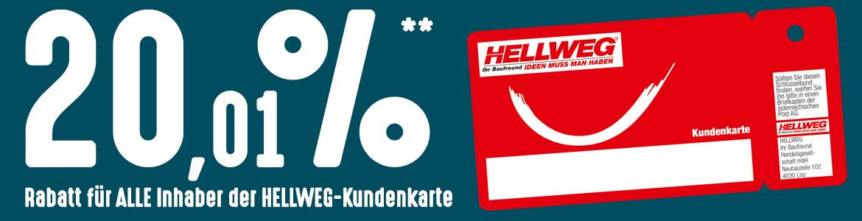 hellweg.at -20,01% Rabatt-Aktion (Bauelemente, Fliesen, Saunen, Sanitätsartikel)