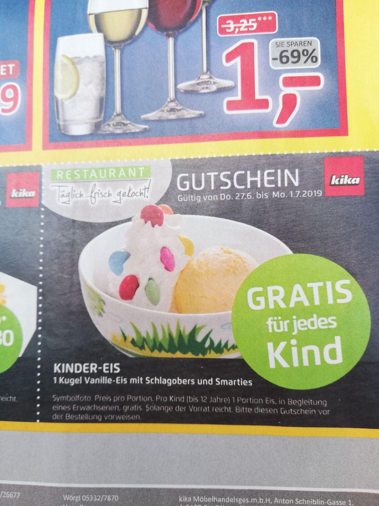 Kika gratis Kinder Eis im Restaurant
