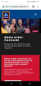 Hofer Kino package, ticket und mittlere Popcorn und Softdrink
