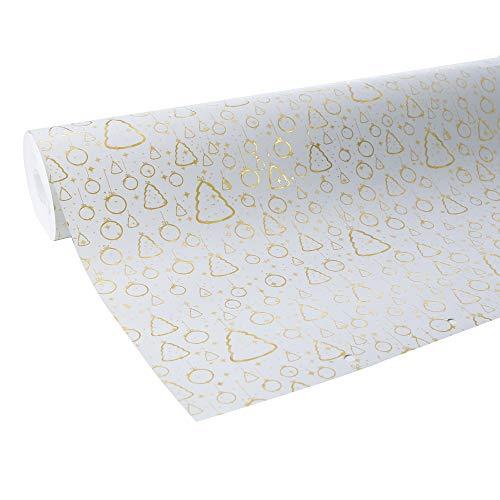 www.AMAZON.de l Clairefontaine Geschenkpapier Premium (50 Meter x 0,70m, 80g/qm) 1 Rolle Weihnachten Weiß/Gold - Xmas kann kommen!