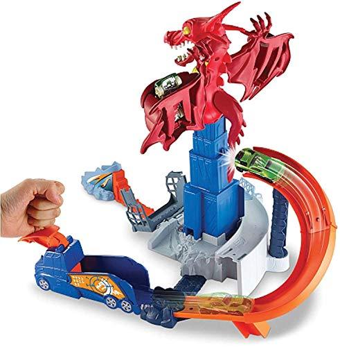 Hot Wheels DWL04 City Drachen Attacke Set, großes Spielset inkl. 1 Spielzeugauto und Starter