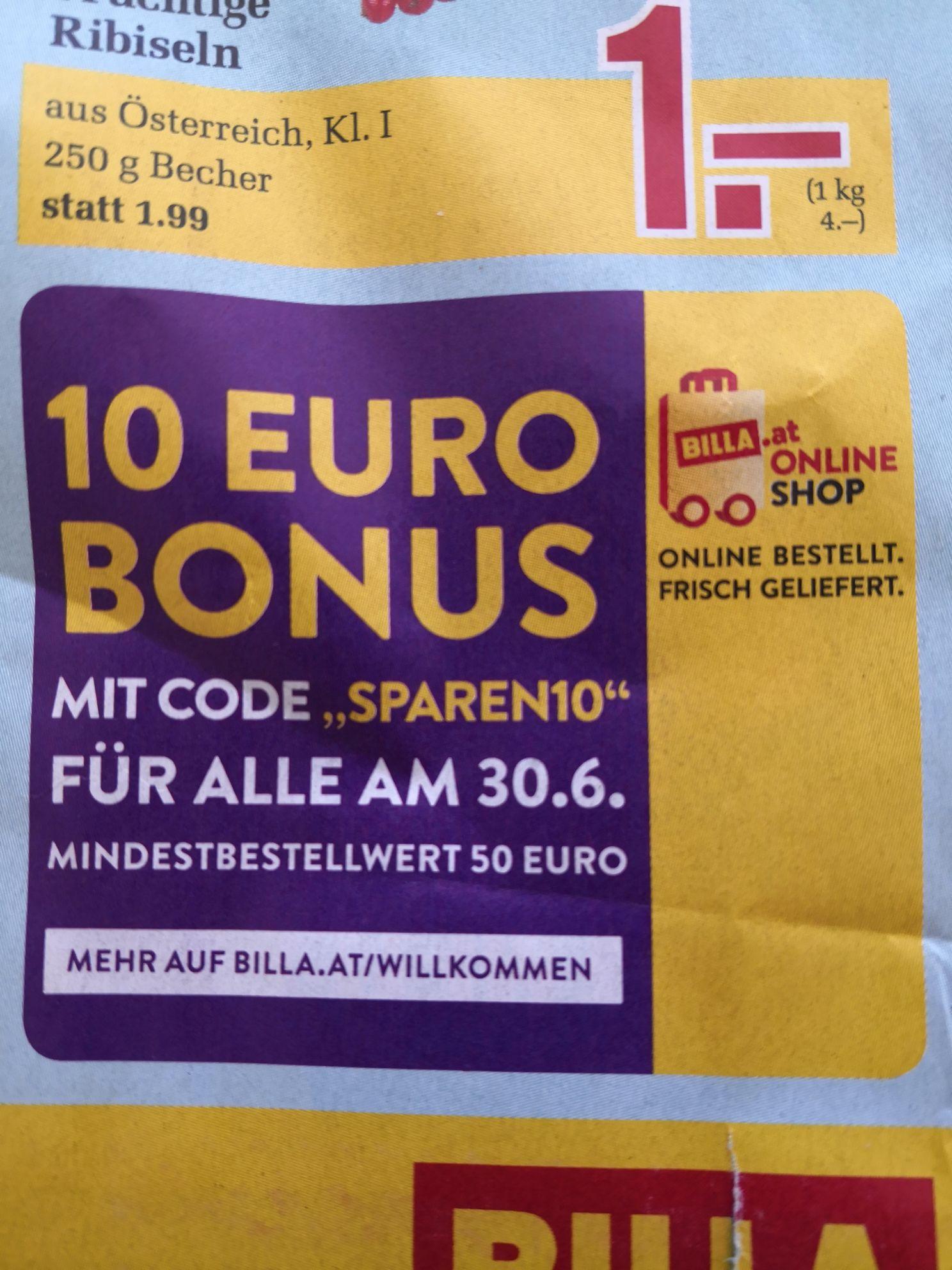 Nur heute im Billa Online Shop 10 Euro ab 50 Euro sparen