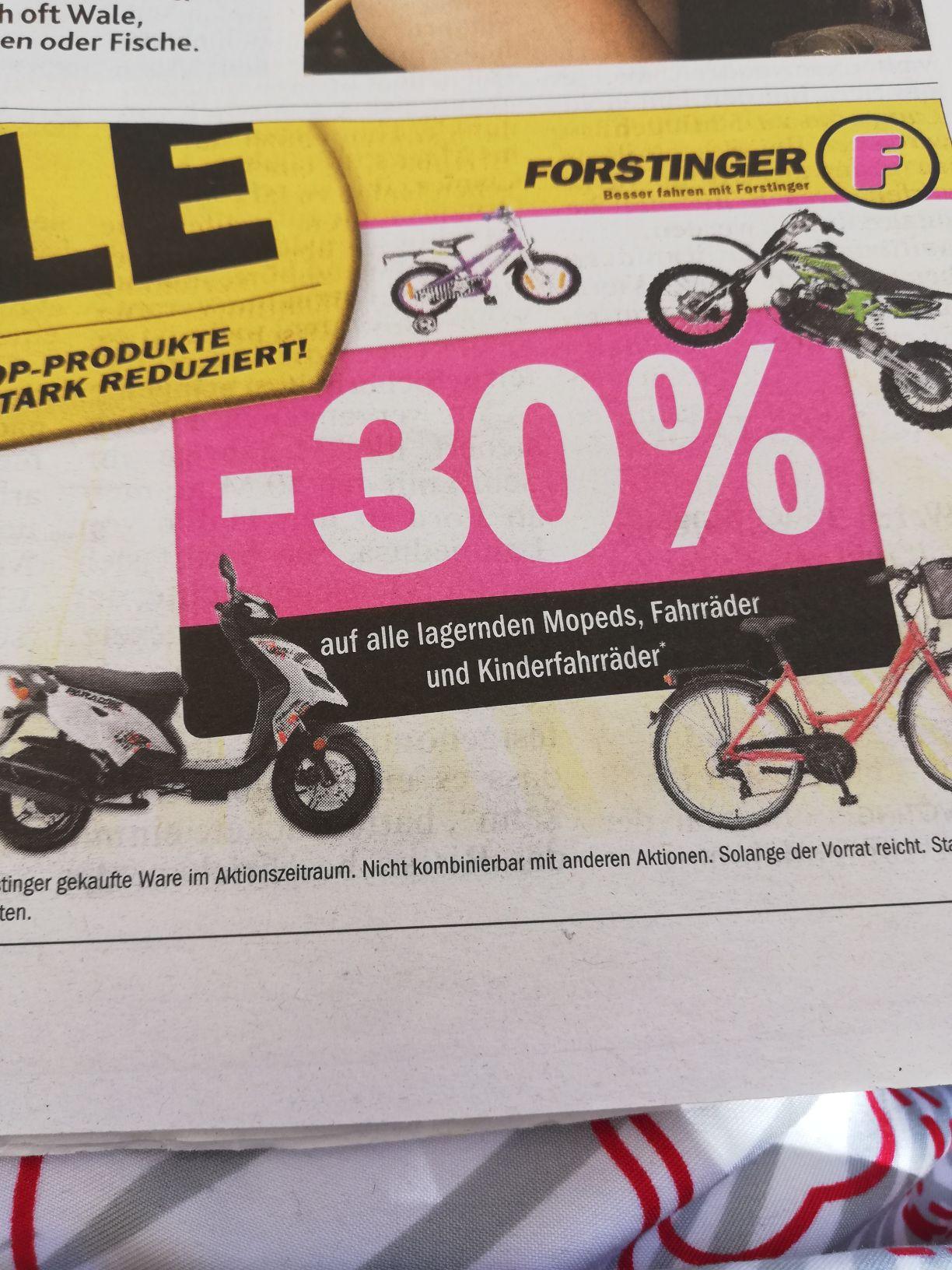 Forstinger 30 Prozent Rabatt auf alle lagernden mopeds Fahrräder und Kinderfahrräder