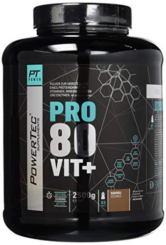 POWERTEC SUPPLEMENTS Pro 80 Vit+ - hochwertiges Proteinpulver mit Vitaminen, Zink und Chrom (Karamell), 2500 g
