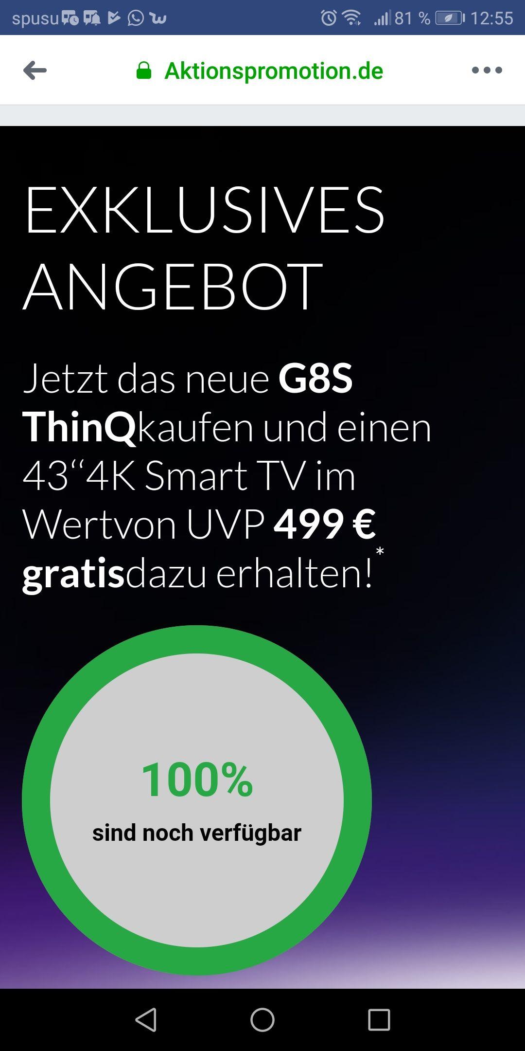 LG G8s + gratis 4K Fernseher