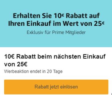 [Amazon Prime] 10€ Rabatt ab 25€ MBW