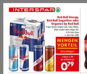 Red Bull 6er - 0,59 € pro Dose - Dank 25% Rabatt Pickerl