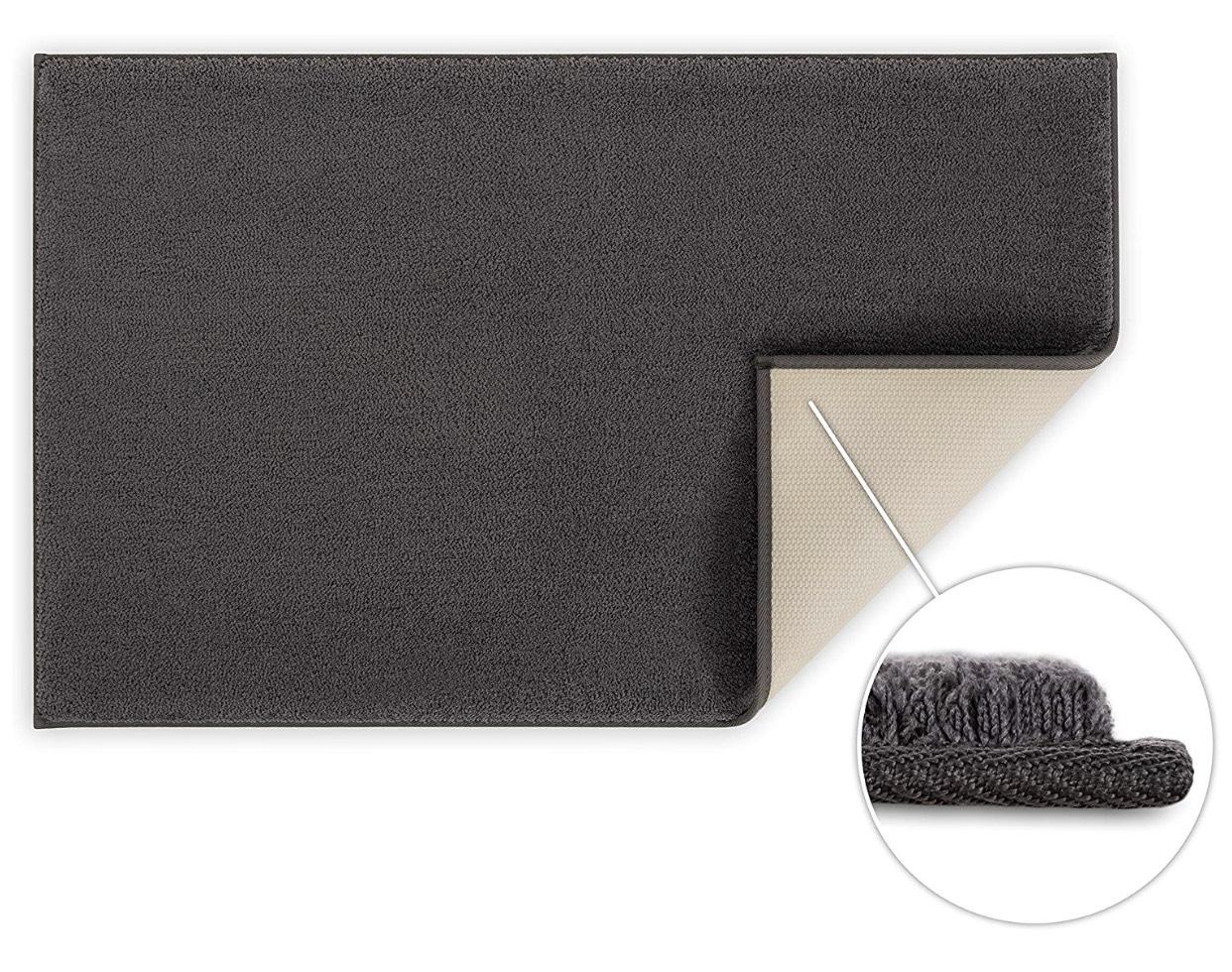 Blumtal Badezimmerteppich rutschfest - 50x80 cm, Dark Grey