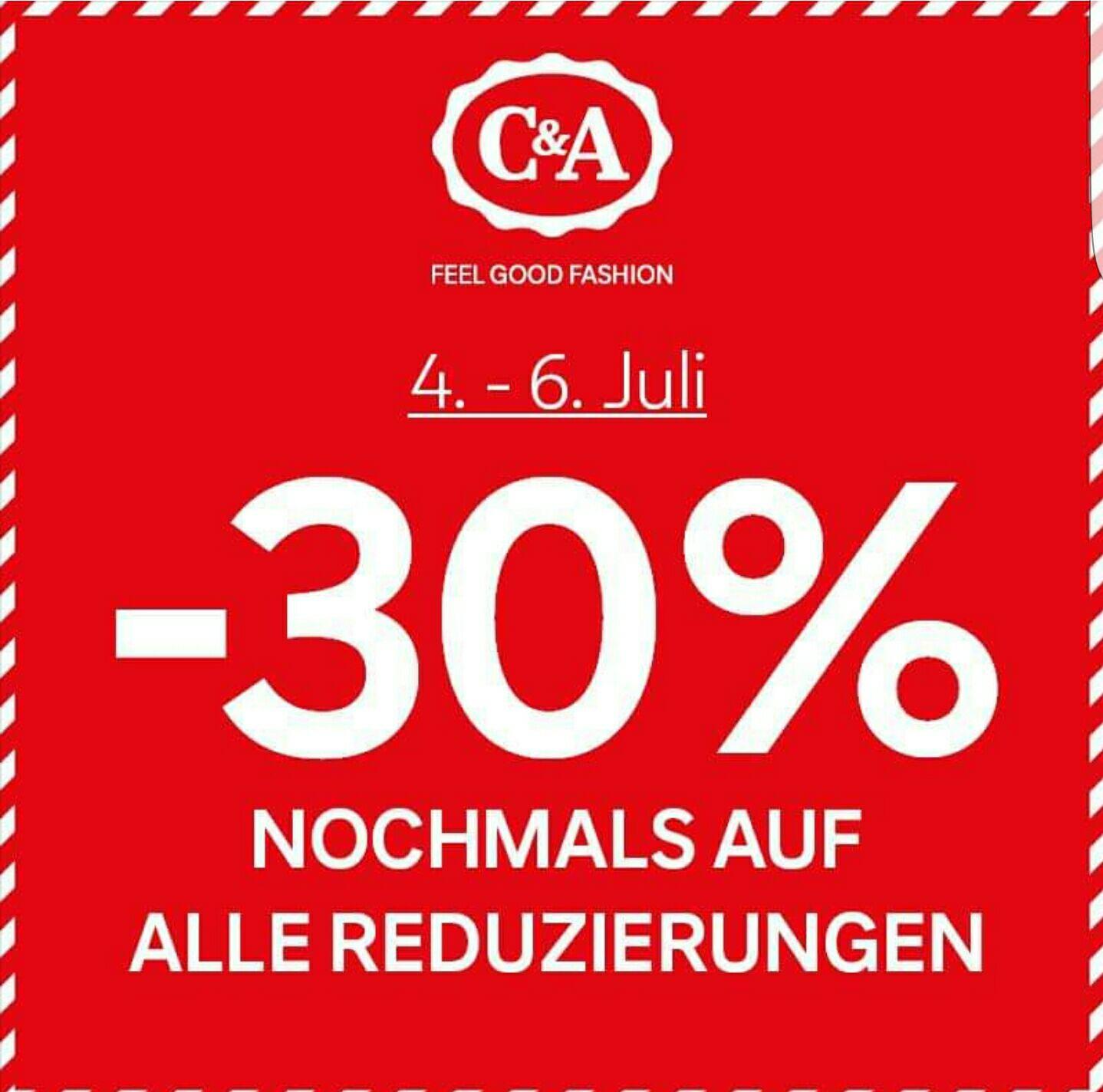 [C&A Filialen] -30% Rabatt zusätzlich auf alle Sale Artikel