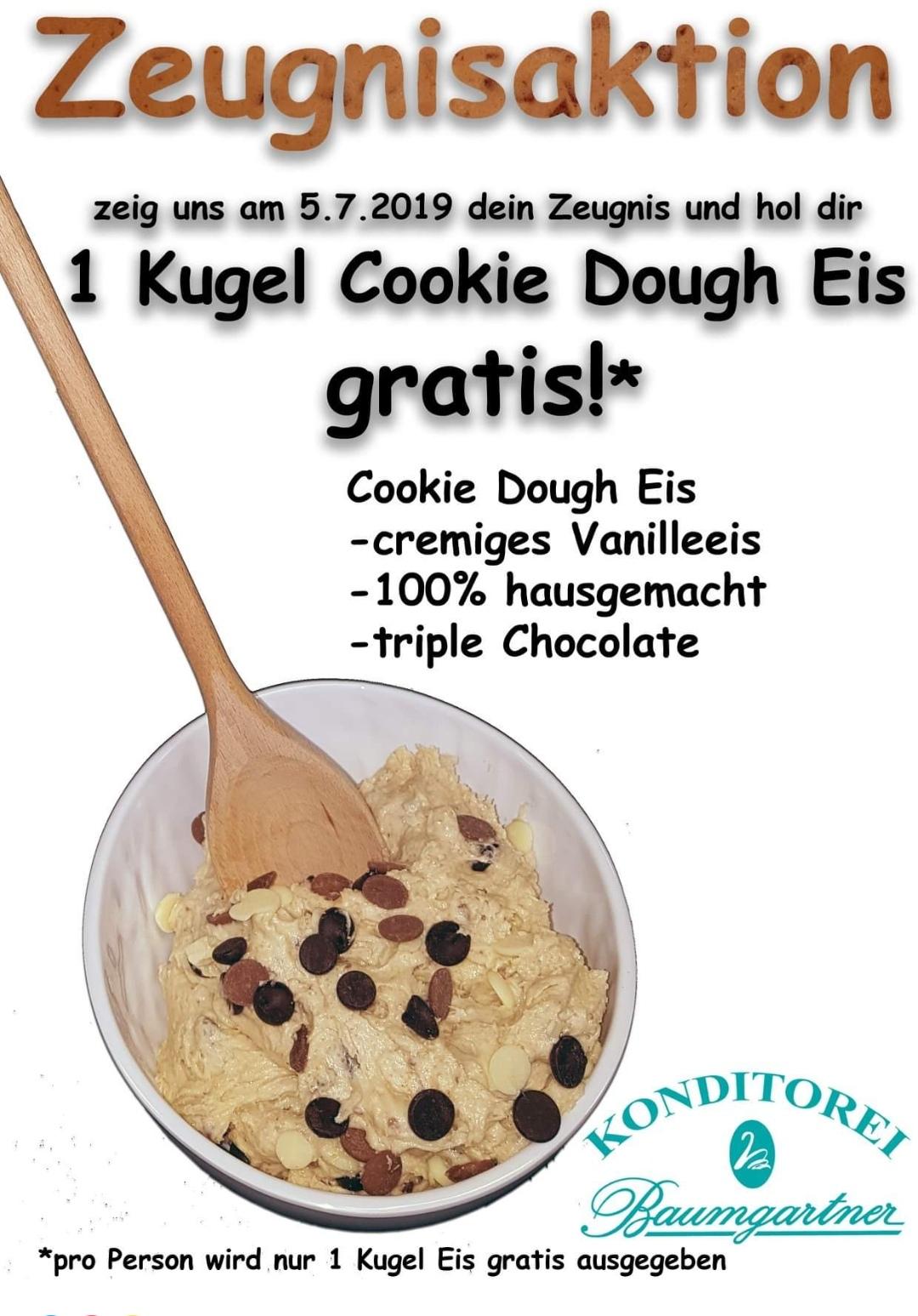 [GMUNDEN / OÖ] Zeugnisaktion - 1 GRATIS Kugel Cookie Dough Eis