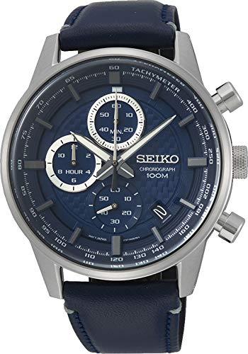 Seiko Automatik-Uhr mit Lederarmband (SSB333P1)