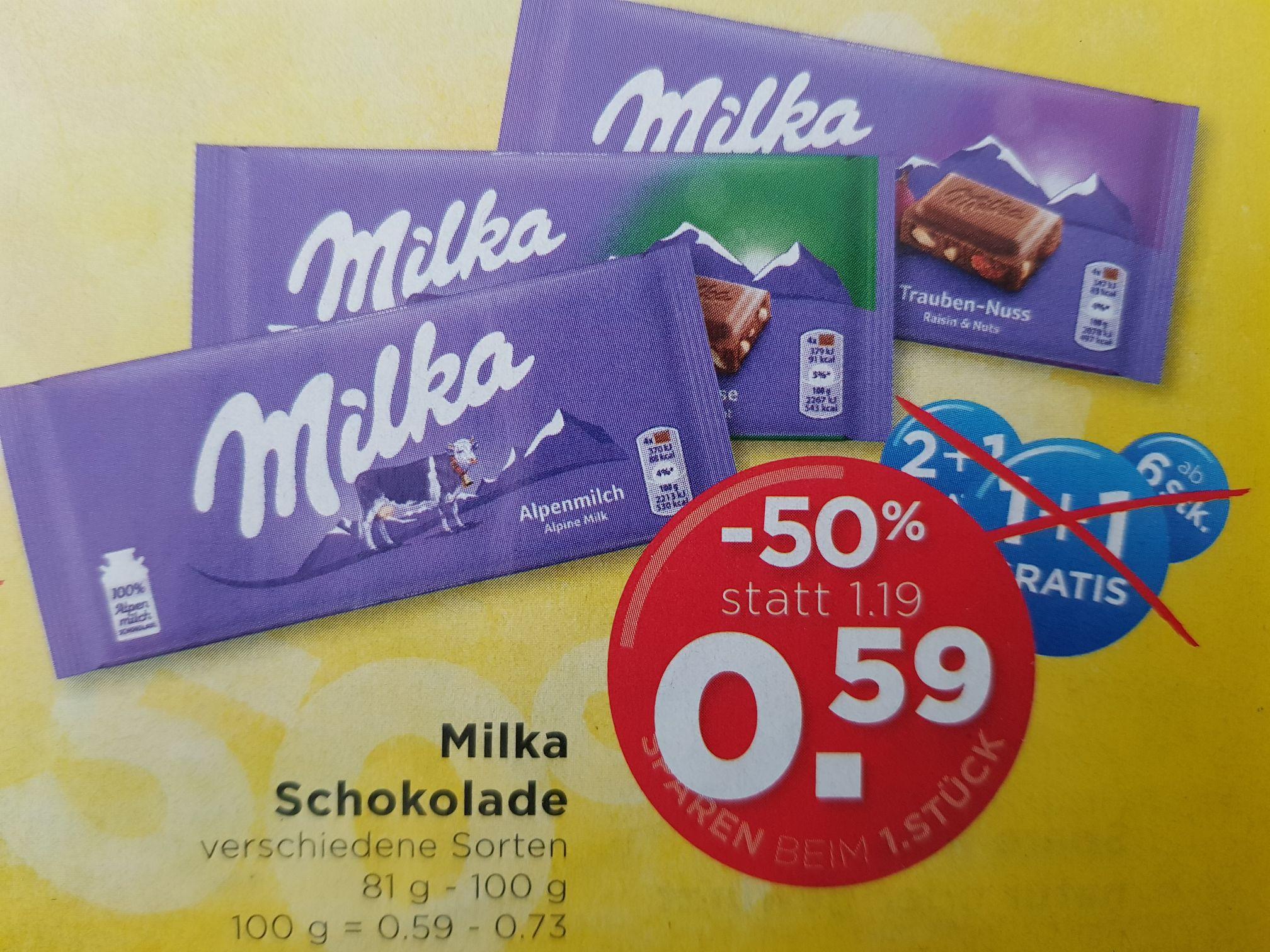 Milka Schokolade beim Unimarkt